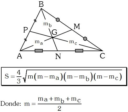 Área de un triángulo en función de sus tres medianas