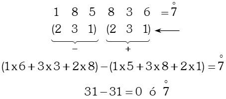 Ejemplo Divisibilidad por 7 ó múltiplos de 7