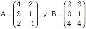 Ejemplo de Adicion de Matrices