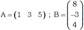 Ejemplo de Multiplicación de una matriz fila por una matriz columna