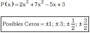 Ejemplo de Determinación de posibles ceros de un polinomio