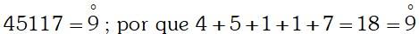 Ejercicio Divisibilidad por 9 ó múltiplos de 9