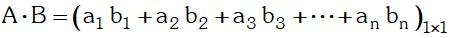 Formula Multiplicación de una matriz fila por una matriz columna