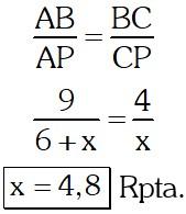 Respuesta Ejemplo 3 de Proporcionalidad y Semejanza